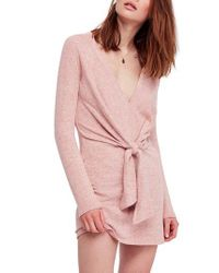 Free People Pink Ginger Cozy Tie Front Dress