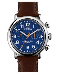 Shinola   Brown 'the Runwell Chrono' Leather Strap Watch for Men   Lyst