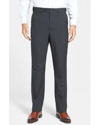 Berle   Gray Self Sizer Waist Tropical Weight Flat Front Trousers for Men   Lyst
