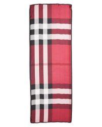 Burberry - Pink Mega Check Silk Scarf - Lyst