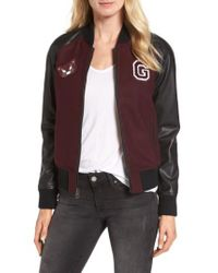 Guess - Brown Patch Detail Mixed Media Bomber Jacket - Lyst
