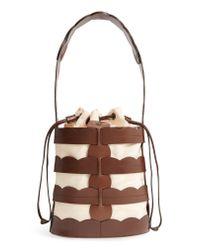 Trademark Multicolor Scallop Hesse Leather Bucket Bag -