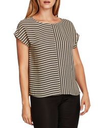 Vince Camuto Black Geo Print Blouse