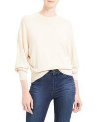 Theory Multicolor Blouson Sleeve Wool Blend Pullover