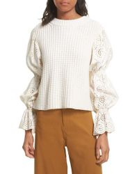 Sea White Eyelet Puff Sleeve Sweater