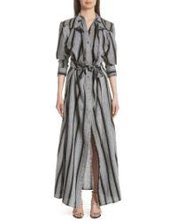 Y. Project Gray Long Stripe Linen Shirtdress
