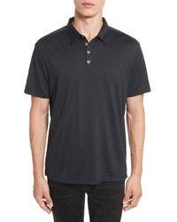 John Varvatos Black Hampton Slim Fit Silk & Cotton Polo for men
