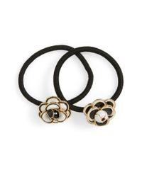 Cara - Black Set Of 2 Enameled Flower Ponytail Holders - Lyst