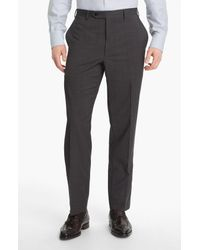 Canali Gray Flat Front Classic Fit Wool Dress Pants for men