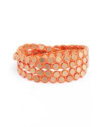 Serefina - Orange Wrap Disk Bracelet - Lyst