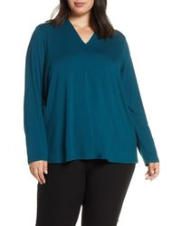 Eileen Fisher Blue V-neck Stretch Lyocell Top