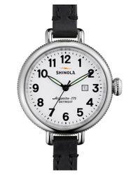 Shinola Black 'the Birdy' Double Wrap Leather Strap Watch