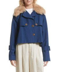 Sea | Blue Crop Trench Coat With Genuine Lamb Fur Collar | Lyst