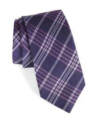 Calibrate | Purple School Plaid Silk & Cotton Tie for Men | Lyst
