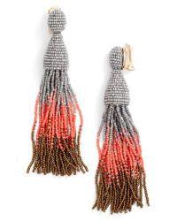 Oscar de la Renta | Red Ombre Long Tassel Clip Earrings | Lyst