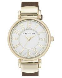 Anne Klein | Metallic Leather Strap Watch | Lyst