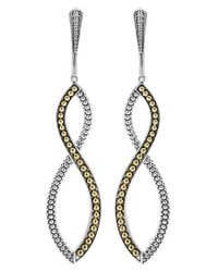 Lagos | Metallic Sterling Silver Drop Earrings With 18k Gold Caviar Beading | Lyst