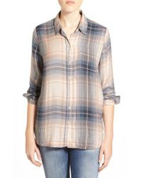 Lucky Brand | Blue 'bungalow' Plaid Lightweight Flannel Shirt | Lyst