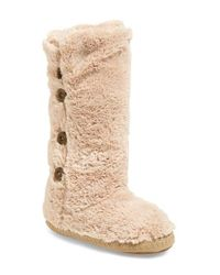 Bedroom Athletics Natural Grace Faux-Fur Slipper Boots