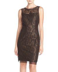 Julia Jordan | Brown Metallic Lace Sheath Dress | Lyst