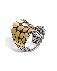 John Hardy - Metallic 'dot' Gold & Silver Saddle Ring - Lyst