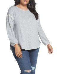 Caslon - Gray Caslon Two Fer Plaid Contrast Sweatshirt - Lyst