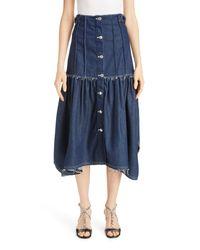 Chloé Blue Chloé Pintuck Denim Midi Skirt
