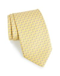Ferragamo | Yellow Golf Print Silk Tie for Men | Lyst