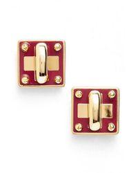 Marc By Marc Jacobs | Multicolor 'turnlock' Enamel Stud Earrings | Lyst