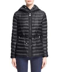 Moncler | Black 'raie' Water Resistant Hooded Down Jacket | Lyst