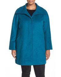 Ellen Tracy | Blue Wool Blend A-line Coat | Lyst