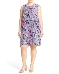 Halogen - Multicolor Floral-Print Crepe Dress - Lyst