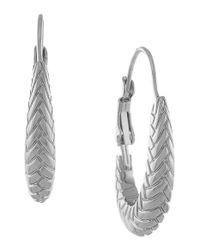 Cole Haan - Gray Large Basket Weave Oval Hoop Earrings - Rhodium - Lyst