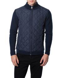 7 Diamonds Blue 'gatti' Quilted Panel Lambswool Knit Jacket for men