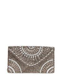 Glint | Black 'alhambra' Embellished Envelope Clutch - Metallic | Lyst