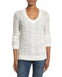 Nordstrom Collection - White Cable Knit V-neck Sweater - Lyst