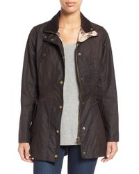 Barbour   Gray 'holsteiner' Skirted Waxed Cotton Jacket   Lyst