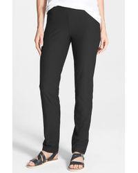 Eileen Fisher | Black Straight Yoke Slim Crepe Knit Pants | Lyst