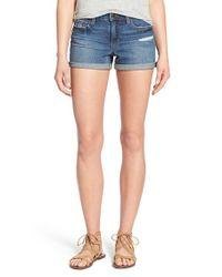Joe's Jeans - Blue Distressed Rolled Hem Denim Shorts - Lyst