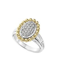 Lagos - Metallic Diamond Caviar Oval Ring - Lyst