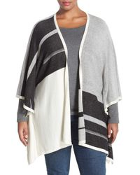 NYDJ | Gray Stripe Poncho Style Cardigan | Lyst