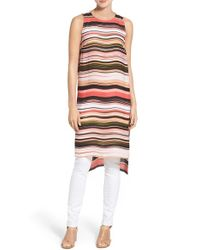 Vince Camuto - Multicolor Long High/low Stripe Tunic - Lyst