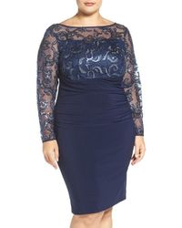 Marina | Blue Sequin Illusion & Jersey Side Ruched Sheath Dress | Lyst