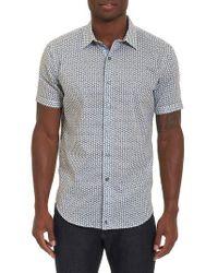 Robert Graham White Downey Geo Print Short Sleeve Sport Shirt for men