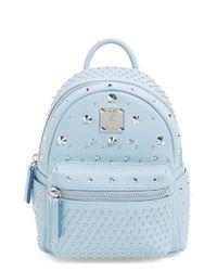 MCM   Blue 'x-mini Stark - Bebe Boo' Studded Leather Backpack   Lyst