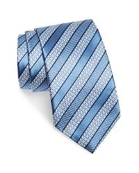 Ermenegildo Zegna - Blue Stripe Silk Tie for Men - Lyst