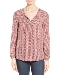 Gibson - Red Tie Neck Peasant Blouse - Lyst