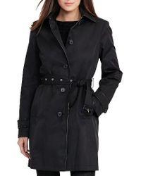Lauren by Ralph Lauren | Black Faux Leather Trim Trench Coat | Lyst