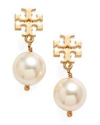 Tory Burch | White Logo Faux Pearl Drop Earrings | Lyst