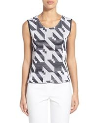 Ming Wang - Blue Reversible Scoop Neck Knit Tank - Lyst